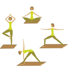 Set stylized yoga poses vector