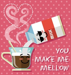smiling cartoon on coffee cup and milk carton vector image