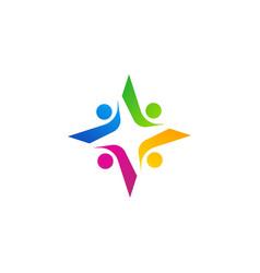 Team work star logo symbol icon design vector