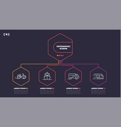 Thin line infographic scheme with 4 options vector