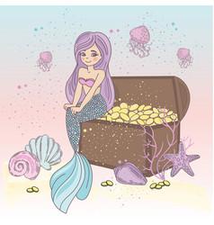 treasure chest magic cartoon travel tropical vector image