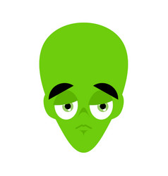 ufo sad emoji green alien face sorrowful emotion vector image
