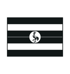 Uganda flag monochrome on white background vector image