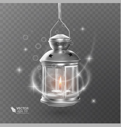 vintage luminous lantern of white color with vector image