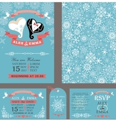 Wedding invitationHeart coupleWinter set vector image