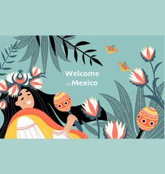 Welcome to mexico banner with cute girl vector