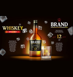 Whiskey ads label design realistic glass whiskey vector