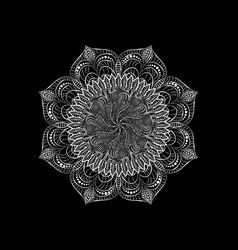 White round lace napkin decorative mandala plant vector