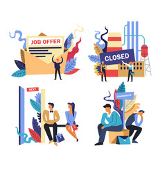 Work and unemployment problem isolated icons job vector