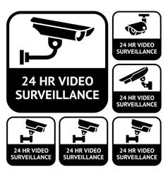 CCTV labels set symbols video surveillance vector image