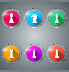 Chess game set color icon vector