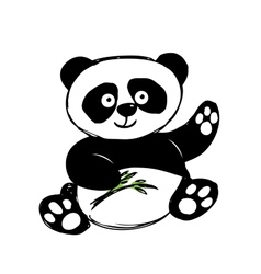 Little cute panda isolated on white vector image