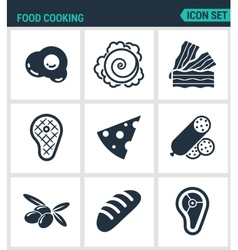 Set of modern icons Food cooking egg vector image