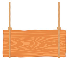 wooden singboard hanging on ropes vector image
