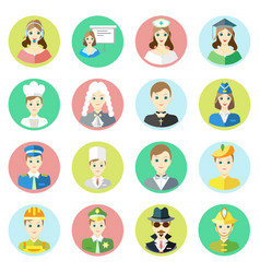 icons characters of different professions vector image