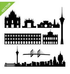 macau landmark and skyline silhouettes vector image vector image