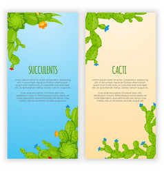 set of 2 vertical banners with cactuses and vector image