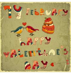 Valentines Day Retro Card vector image vector image