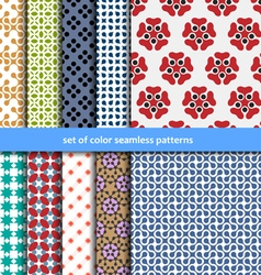 Colored patterns collection for seamless vector image vector image