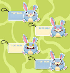 Four cute cartoon Rabbits stickers vector image vector image