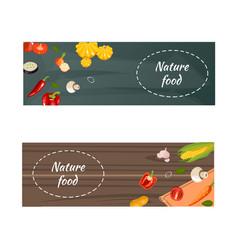 fresh natural food horizontal banners vector image vector image