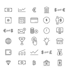 30 line finance icons vector image