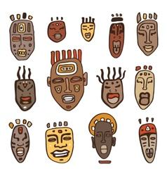 African Masks set vector image