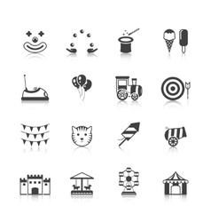 Amusement Park Icons Black vector image vector image
