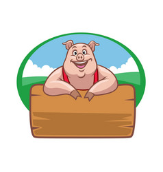 happy farm pig with wood plank for text space vector image vector image