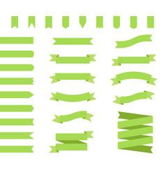 ribbons set design in green flat ribbon banners vector image