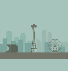 silhouette of seattle skyline vector image vector image