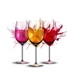 Three wine glasses with splashes vector image vector image