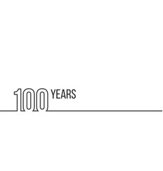 100 years anniversary or birthday linear outline vector image
