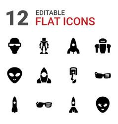 12 futuristic icons vector