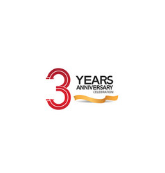 3 years anniversary template with red color vector