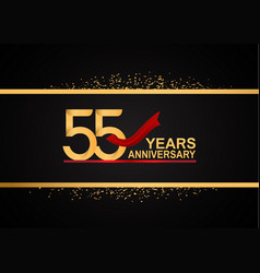 55 years anniversary logotype with golden color vector