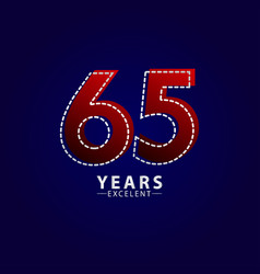 65 years excellent anniversary celebration red vector