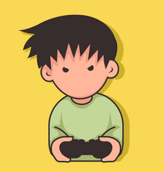 a cute little boy playing game vector image