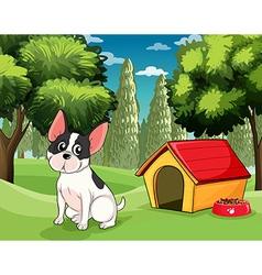 A dog near a doghouse with a dog food vector