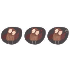 A set three owls that hold a heart a flower a vector