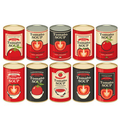 A tin cans with labels tomato soup vector