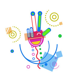 Abstract hand palm show victory sign doodle design vector