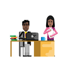 African businessman working in office vector