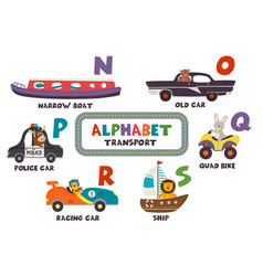 Alphabet with transport and animals n to s vector