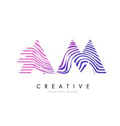 Am a m zebra lines letter logo design vector