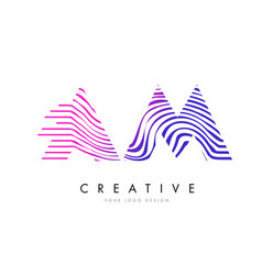 am a m zebra lines letter logo design with vector image