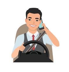 Asian man driving a car talking on the phone vector