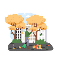 Autumn season man janitor cleaning street from vector