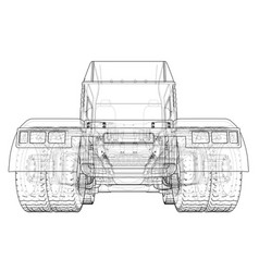 Back view truck isolated on white background vector