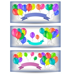 Banners with colorful balloons and ribbons vector